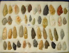 Frames of Arrowheads, Points & Artifacts-' Frame of 45 Authentic, Early Man, Midwestern Arrowhead Points. Sandia Types, Arkansas'-Len Wood's Indian Territory