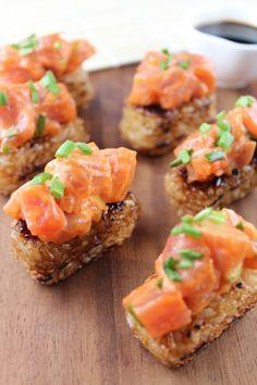 // Spicy Tuna on Crispy Rice Cakes