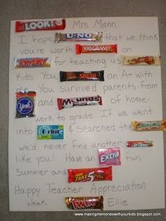 We made a version of this for last year Teacher Appreciation ~ the candy woven into the sentences is incredibly fun and the kids love it =)