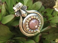 Tibetan silver pendant with a stunning center of by dabsdesigns