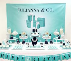 Tiffany / Breakfast at Tiffanys Themed Party Backdrop - JPEG File Only - YOU PRINT