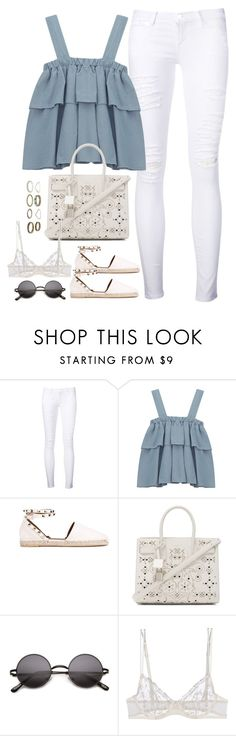 """""""Untitled#4539"""" by fashionnfacts ❤ liked on Polyvore featuring Frame Denim, Chicnova Fashion, Valentino, Yves Saint Laurent and La Perla"""