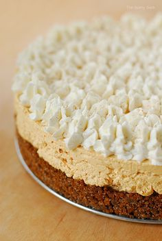 Pumpkin Silk Pie is cool and creamy with a light pumpkin flavor and the spice of ginger snaps. It's a delicious recipe to make instead of the traditional pumpkin pie.