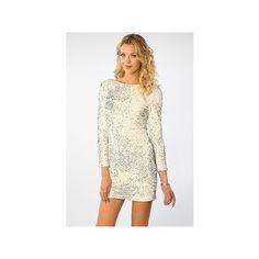 Motel The Gabby Glitzy Sequin Long Sleeve Dress In White ($104) ❤ liked on Polyvore
