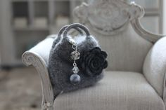 https://flic.kr/p/cthoSb | Grey Cashmere Bag & Charm | Bag charm by Lisa