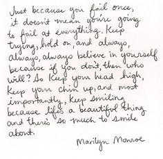 Words of encouragement / Marilyn Monroe