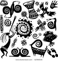 Illustration about Elements for designing primitive art. Illustration of african, mixer, motif - 14234388 Arte Tribal, Tribal Art, Native Art, Native American Art, Motifs Primitifs, Primitive Kunst, Art Indien, Kunst Der Aborigines, Art Du Monde