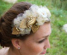 Bridal Headpiece/Bridal Headband In Ivory And by AGoddessDivine