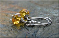 Sunshine Crystal Earring / Hand Wire Wrapped Earrings / yellow crystal earrings / Swarovski Crystal Drop Earrings / Bridesmaid gift jewelry