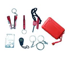 Makhry 6 in 1 Multi-Functional Pocket Outdoor Survival Kit First Aid Kit Emergency Tool Gear Set Bundle Survive Tool Pack for Emergency -- Read more  at the image link.