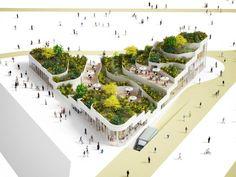 NL architects: super market sanya lake park