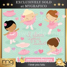 I Love You Tutu Valentine Cliparts These cute little Valentine clipart ballerinas on Valentine's Day are so sweet! Set includes girls in ballet costumes, I love you tutu, heart, and ballet cliparts. Precious Valentine graphics for the perfect cards, tote bags and monogramming.