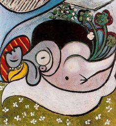 Acheter Tableau 'Mujer desnuda acostada con flores' de Pablo Picasso - Achat d'une reproduction sur toile peinte à la main , Reproduction peinture, copie de tableau, reproduction d'oeuvres d'art sur toile