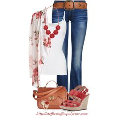 """""""Red Floral Cardigan"""" by steffiestaffie on Polyvore"""