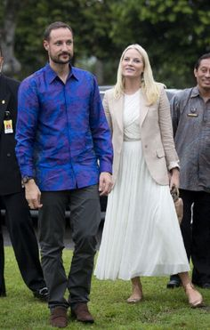 Crown Prince Haakon and Crown Princess Mette-Marit of Norway visit Borobudur Temple in Indonesia