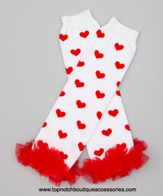 Take a look at this White & Red Heart Ruffle Leg Warmers by Pink Petunia Boutique on today! Red Hair Bow, Ribbon Hair Bows, Girl Hair Bows, Baptism Headband, Newborn Headbands, 1st Birthday Hats, Valentines Day Baby, Baby Leg Warmers, Heart Hair