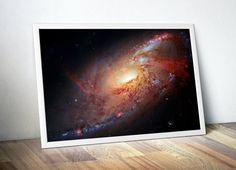 Outer Space Astronomy Art Print M106 Galaxy by Dare To Dream Prints. Available as a poster or canvas art.