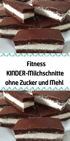 Fitness KIDS milk cuts without sugar and flour- Fitness KINDER-Milchschnitte ohne Zucker und Mehl Don& you love the children& milk cuts but the large amount of sugar in the filling? Try out this fitness variant without sugar and flour today. Easy Cake Recipes, Healthy Dessert Recipes, Smoothie Recipes, Cookie Recipes, Brownie Recipes, Healthy Foods, Chocolate Cake Recipe Easy, Chocolate Recipes, Law Carb
