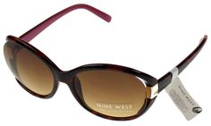 Nine West Cat Eye Sunglasses Brown Marble 100% UV Protection Plastic 62-18-125