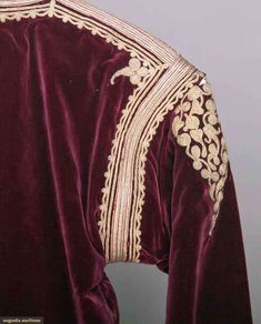 North America's auction house for Couture & Vintage Fashion. Augusta Auctions accepts consignments of historic clothing and textiles from museums, estates and individuals. Ethnic Outfits, Clothing And Textile, Gold Embroidery, Velvet Jacket, Purple Velvet, Couture, Eastern Europe, Historical Clothing, Greek