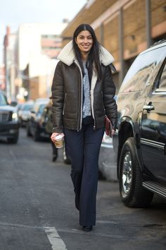 The Best New York Fashion Week Street Style: Fall 2015  I'd be smiling like her too if I were rocking that shearling.
