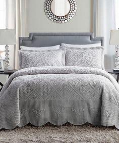 Loving this Gray Westland Quilted Bedspread Set on #zulily! #zulilyfinds