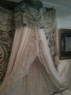 Idea for a bed canopy with my vintage lace curtains! Rosemary Cathcart Antique Lace and Vintage Fashion: The Sheelin Lace Shop Vintage Shabby Chic, Shabby Chic Decor, Vintage Lace, Vintage Curtains, Lace Curtains, French Curtains, Custom Curtains, Bed Crown, Boudoir