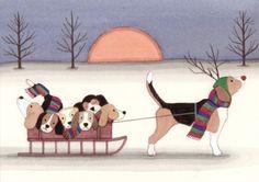 12 Christmas cards: Beagle family takes holiday sled ride / Lynch folk art Beagle Art, Beagle Puppy, Pembroke Welsh Corgi, Hound Dog, Sled, Dog Art, Dog Life, Fur Babies, Backgrounds