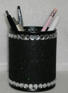 Black & Bling Pen/Pencil Cup Holder by LaurieBCreations on Etsy, $14.50