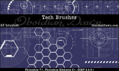 Tech Brushes composed of various tech shapes and diagrams.