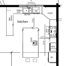 Small Kitchen Layouts With Island potential kitchen layout with a corner pantry. | mediidas planos