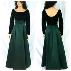 Vintage Dark Green Maxi Gown. Velvet Feel. Size by NicoleNicoletta