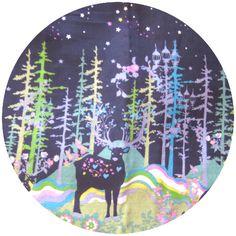 Kayo Horaguchi for Kokka, DOUBLE GAUZE, Peaceful Woodland Border Midnight