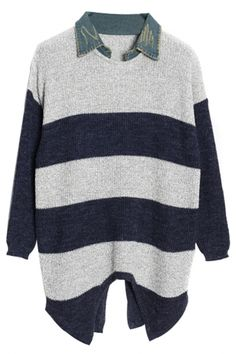 Fashion Long-Sleeve Wide Stripes Knit Sweater with Splits. Go ahead, stripe down. The Sweater featuring front and back slits a round neck with wide stripes design. Oversized fit, ribbing at neck, sleeves, and hem. Wear it over leather leggings with a boot Warm Sweaters, Sweaters For Women, Wide Stripes, Leather Leggings, Striped Knit, Stripes Design, Pullover, Knitting, Womens Fashion