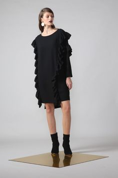 venture dress / black by Moochi. Everyday luxury, from off-duty essentials to coveted designer pieces. Off Duty, Winter 2017, Dress Black, Cold Shoulder Dress, Stuff To Buy, Collection, Dresses, Design, Fashion