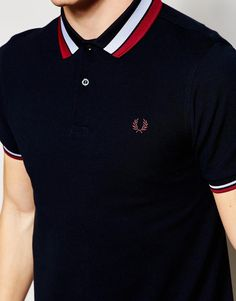 Shop Fred Perry Polo Shirt with Bold Tipping Slim Fit at ASOS. Polo Shirt Style, Polo Shirt Outfits, Polo Shirt Design, Polo Design, Mens Polo T Shirts, Polo Tees, Fred Perry Polo Shirts, Fred Perry Shirt, Men Casual