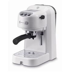 Delonghi Traditional Pump Espresso 15bar Pressure White & Silver Finish Milk Frother 2+filter Can Be Used With Ground Coffee And Ese Pods Cup Warmer 1lt Water Tank