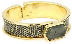 KARA by Kara Ross Narrow Hexagon with Chartreuse Ring Lizard Cuff Bracelet « Xquisite Beauty