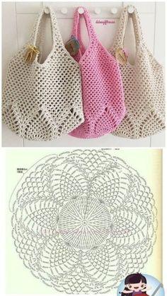 Crochet Market Bag, Crochet Tote, Crochet Handbags, Crochet Purses, Crochet Crafts, Crochet Stitches, Crochet Projects, Cross Stitches, Crochet Granny