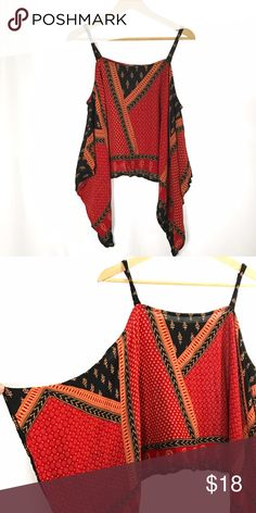 Minkpink Black Red Printed Off the Shoulder Tunic In great condition, additional photos and measurements available upon request. MINKPINK Tops Tunics