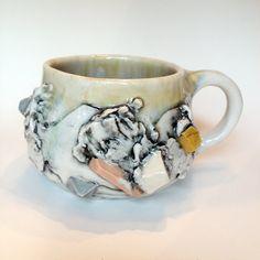 Porcelain Ceramic Beach Mug with small gemstones by Tthomasarts