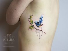 JULIA DUMPS at Tattoo Atelier. Lovely watercolor bird on its branch