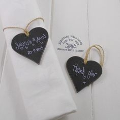 Set 10 - Vintage Style Wedding Favours / Thank You Hearts Personalised Chalkboard Design on Twine