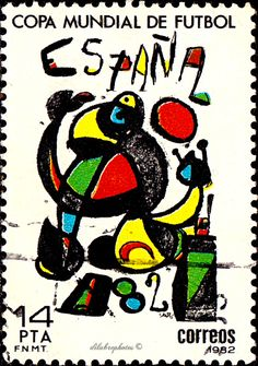 Spain.  SPAIN 1982 WORLD SOCCER CUP.  POSTER BY JOAN MIRO.  Scott 2280  A606,  Issued 1982 Feb 24,  Photo., 14. /ldb.