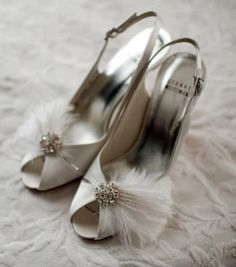 Bridal Feather Shoe Clips - set of 2 - Sparkling Crystal Rhinestone Accents French Netting MANY COLORS