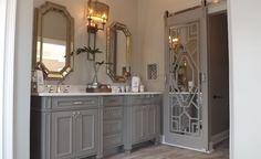 Custom Vanity and Custom mirrored barn door in Master Bath remodel[P] Traditional Bathroom Design Single Bathroom Vanity, Modern Bathroom, Small Bathroom, Bathroom Ideas, Relaxing Bathroom, Bathroom Basin, Master Bathrooms, Bathroom Mirrors, Bathroom Design Software