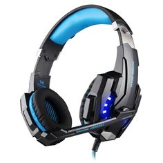 [$10.85] KOTION EACH G9000 3.5mm Game Gaming Headphone Headset Earphone Headband with Microphone LED Light for Laptop / Tablet / Mobile Phones,Cable Length: About 2.2m(Blue + Black)