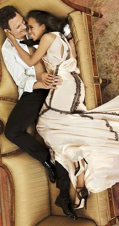 Olivia Pope and President Fitzgerald Grant (AKA Kerry Washington and Tony Goldwyn) of ABC's Scandal.  Olitz