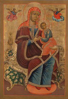Moeder Gods van de Passie - Strastnaja De Moeder Gods houdt het Christuskind op schoot, dat verschrikt omkijkt naar een engel met lans en spons. Hiertegenover draagt een engel een kruis. In de zeventiende eeuw ontstaat de Slavische Moeder Gods Strastnaja (van het Lijden) volgens dezelfde iconografie. Dat de Moeder Gods op een barokke troon zetelt is uniek. De kroon is vervangen door een hoofddoek, zoals die in zuidwest Rusland vaker voorkomt: een duidelijk westerse invloed