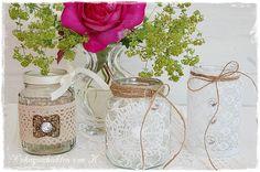 Windlichter selber gemacht, als #Hochzeitsdeko im #Vintage- und #Shabby-Stil.  http://de.dawanda.com/product/84670927-8-windlichter-hochzeitsdeko-vintage-shabby